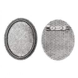 EPUISE - Broche support cabochon 40 x 30 mm