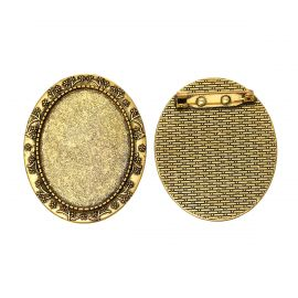 Destockage - Broche support pour gros cabochon 4 x 3 cm