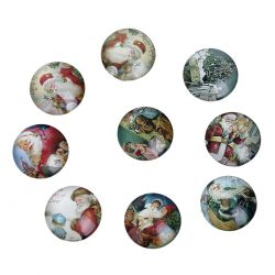 Lot de 10 Cabochons Noël 25 mm