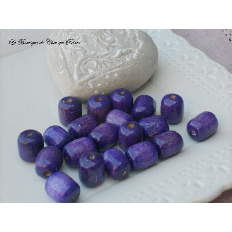 DESTOCKAGE - 20 perles en bois violet 16 x 14 mm