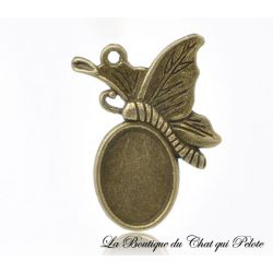 DESTOCKAGE - (X1) Pendentif Papillon support cabochon