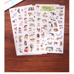 Set de 6 planches de stickers thème chats