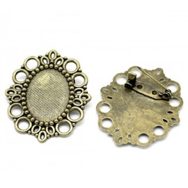 Broche support pour cabochon 25 x 18 mm
